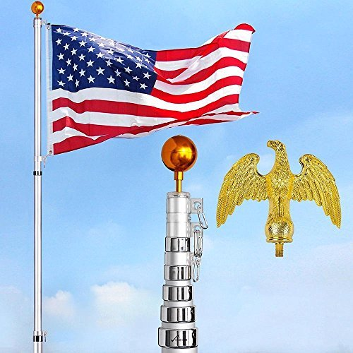 (30 Feet Tall Telescopic 16 Gauge Aluminum Flagpole w/ Golden Eagle Top Pole Finial + Gold Ball Finial 3'x5' US Flag Kit Fly 2 Flags)
