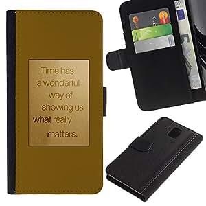 WINCASE Cuadro Funda Voltear Cuero Ranura Tarjetas TPU Carcasas Protectora Cover Case Para Samsung Galaxy Note 3 III - la motivación del texto del oro de motivación