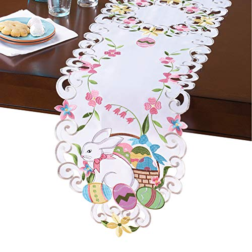 Collections Etc Easter Bunny and Basket Table Linens White Runner, White, Runner