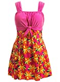 Wantdo Women's Bowknot Dress Cover Up Swimwear Beach Suit Beachwear Plus Size Roseflower US 16-18