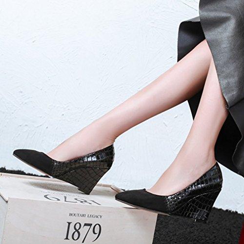 Shoes Slip vadxpg Black 9CM on Heel 4 Women Pointed Toe Vaneel Court Wedge UK 5R0wfvqax