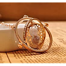 Spring Snow Harry Potter Time Turner Hourglass Pendant Necklace Hermione Granger Rotating Spins Gold Plated Lover's Jewelry