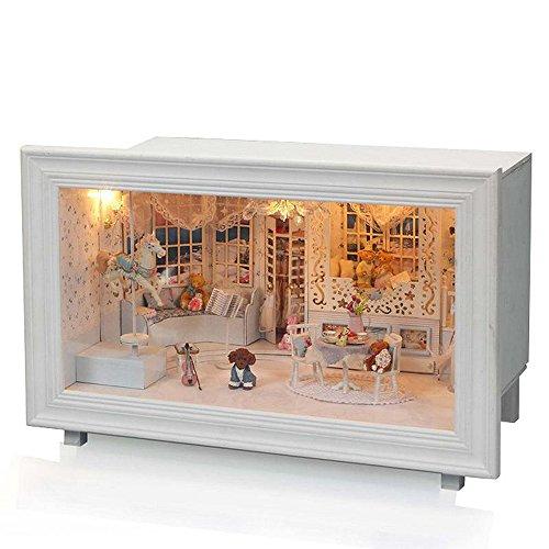 (moin moin) 인형 집 미니어쳐 수제 키트 테디 베어 공주의 방 개 토이 푸들 바이올린 LED 라이트 + 오르골있는