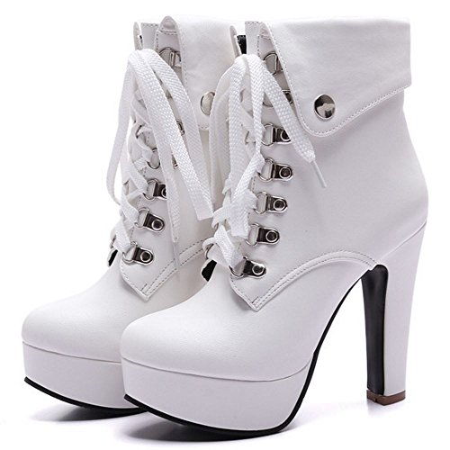 COOLCEPT Damen Western Schnurung Ankle Stiefel Hohe Ferse White