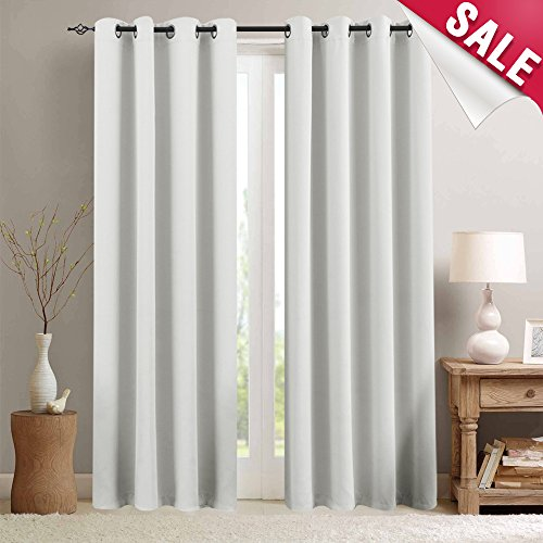 Room Darkening Curtains White Bedroom 84 inches Long Moderate Blackout Window Curtain Panels Living Room Thermal Insulated Grommet Top Triple Weave Drapes