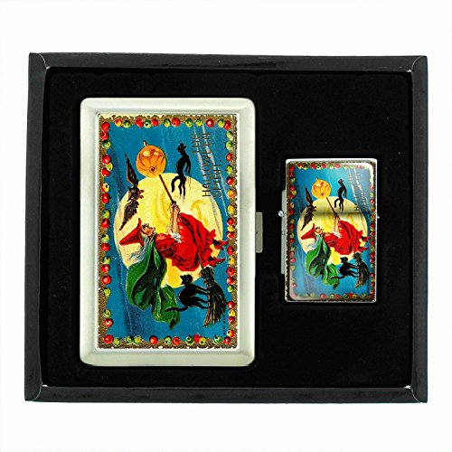 Perfection In Style Cigarette Case and Oil Lighter Gift Set Vintage Halloween Design 005