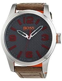 Hugo Boss Orange Men's 47mm Brown Leather Band Steel Case Quartz Grey Dial Analog Watch 1513351