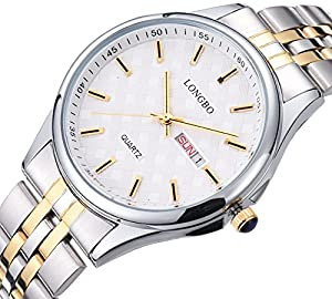 Fanmis Mens Luxury Gold Stainless Steel Analog Quartz Watches with Date Calendar Waterproof Wrist watch