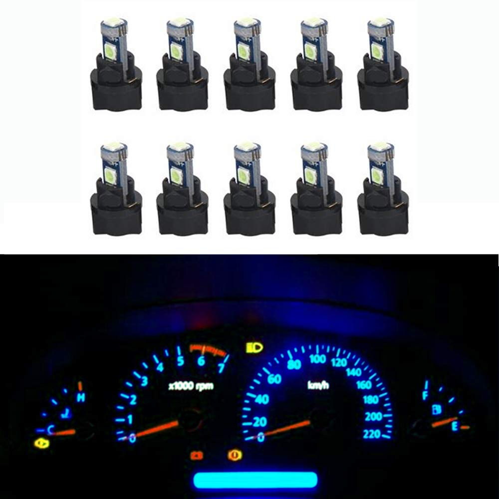 WLJH Pink Canbus Super Bright PC74 T5 2721 73 74 Led Bulb Automotive Car Instrument Cluster Light Gauge Dash Dashboard Indicator Panel Lights 10pcs Lamp with 10pcs Twist Lock Socket