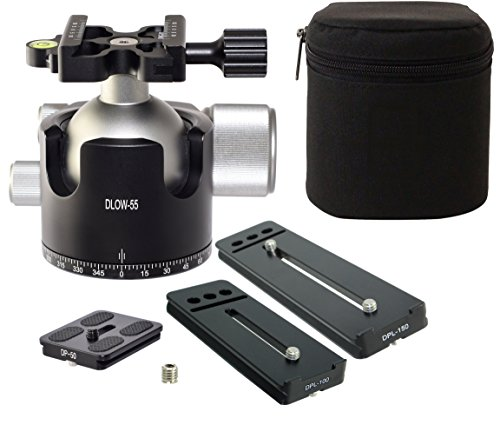 Desmond DLOW-55 Tele Lens Kit 55mm Low Profile Ball Head & 3 QR Plate Arca / RRS Compatible w Pan Lock for Tripod