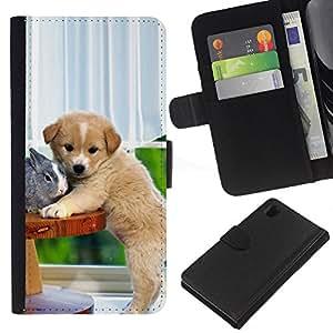 Stuss Case / Funda Carcasa PU de Cuero - Labrador Retriever Dog Puppy Rabbit - Sony Xperia Z1 L39