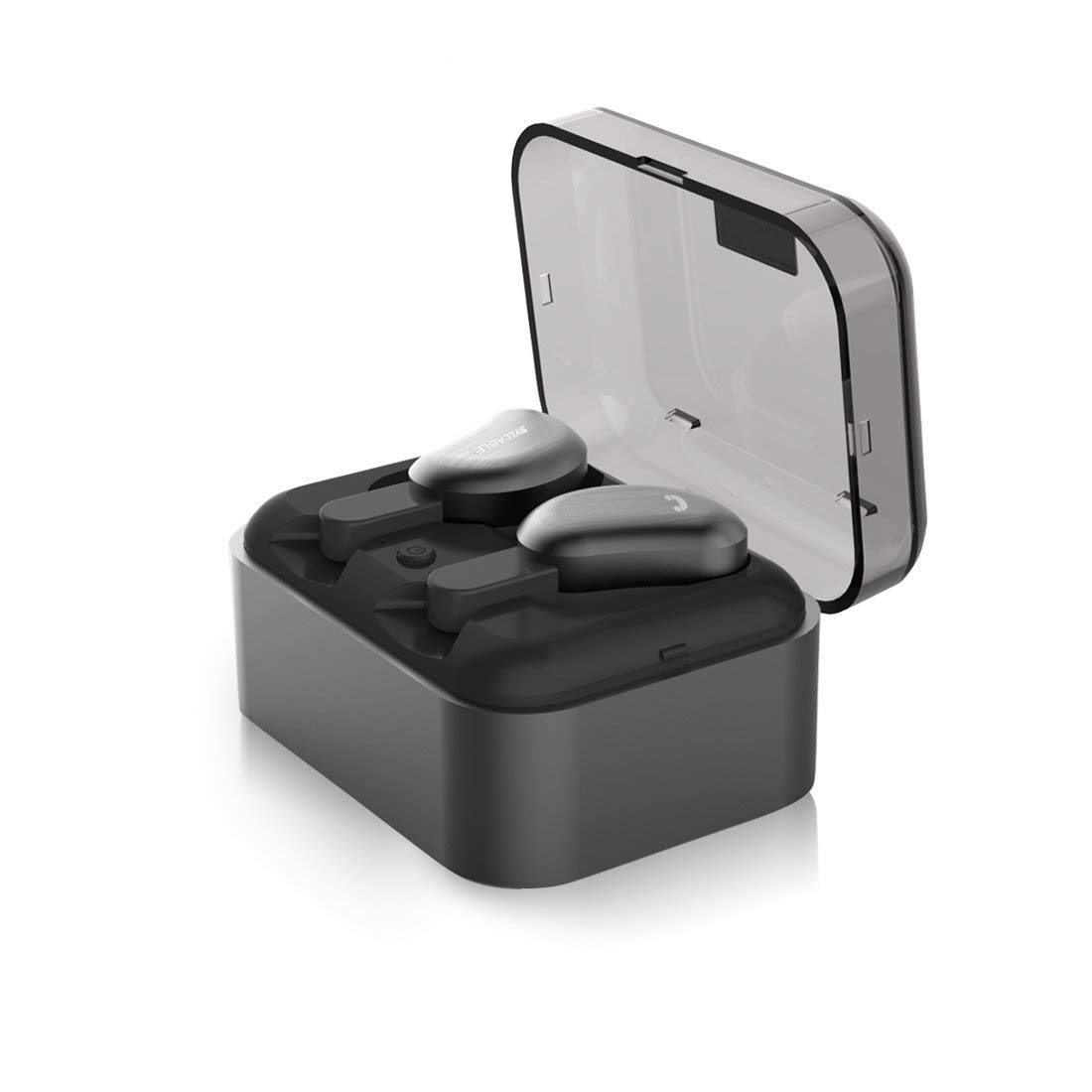 Wireless Bluetooth Earbuds, Syllable Sweatproof in-Ear Earphones with Mic and Smart Charging Box Dock for Sports Running (Black) (Black)
