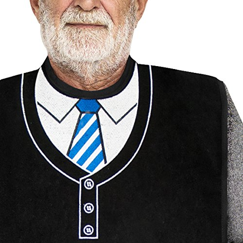 (Classy Pal | Adult Bib for Men with Embroidered Design. Waterproof, Reusable & Washable (Blue Tie))
