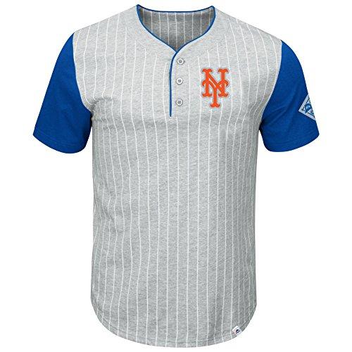 Pinstripe Henley Tee (Majestic New York Mets Pinstripe Henley T-Shirt - Medium)