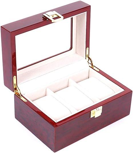 WiYi Caja De Reloj con Cubierta De Vidrio Transparente De Madera Mostrar Almacenamiento Multifuncional Joyeria Caja 3 Rejilla: Amazon.es: Deportes y aire libre
