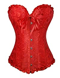 3e83b9cfaff KIshun Women s Sexy Plus Size Corset Lace Up Boned Jacquard Overbust  Bustier Corset