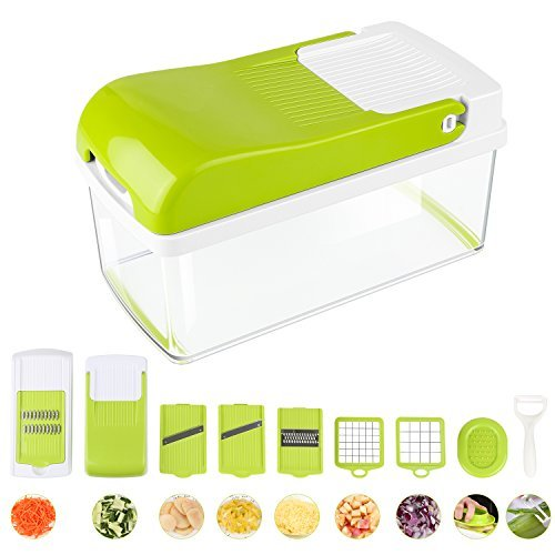 Vegetable Slicer Chopper Dicer, MVPOWER Onion-Fruit-Cheese-Vegetable Spiralizer Mandoline Slicer with 7 Interchangeable Stainless Steel Blades, Multifunctional Dicer, Kitchen Cutter, Peeler, Grater (Vegetable Slicer Chopper)
