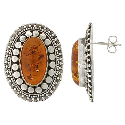 Sterling Silver Oval-shaped Earrings, 18 x 10 mm Cabochon Cut Russian Baltic Amber Stone, 1 1/8 inch tall (Sterling Silver Amber Cabochon Earrings)