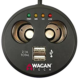Wagan EL2537-5 Twin USB and 12-Volt DC Cup Holder Power Adapter