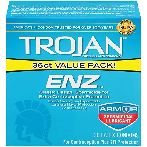 Trojan ENZ Spermicidal Lubricated Condoms, - Trojan Ribbed Spermicidal Ultra
