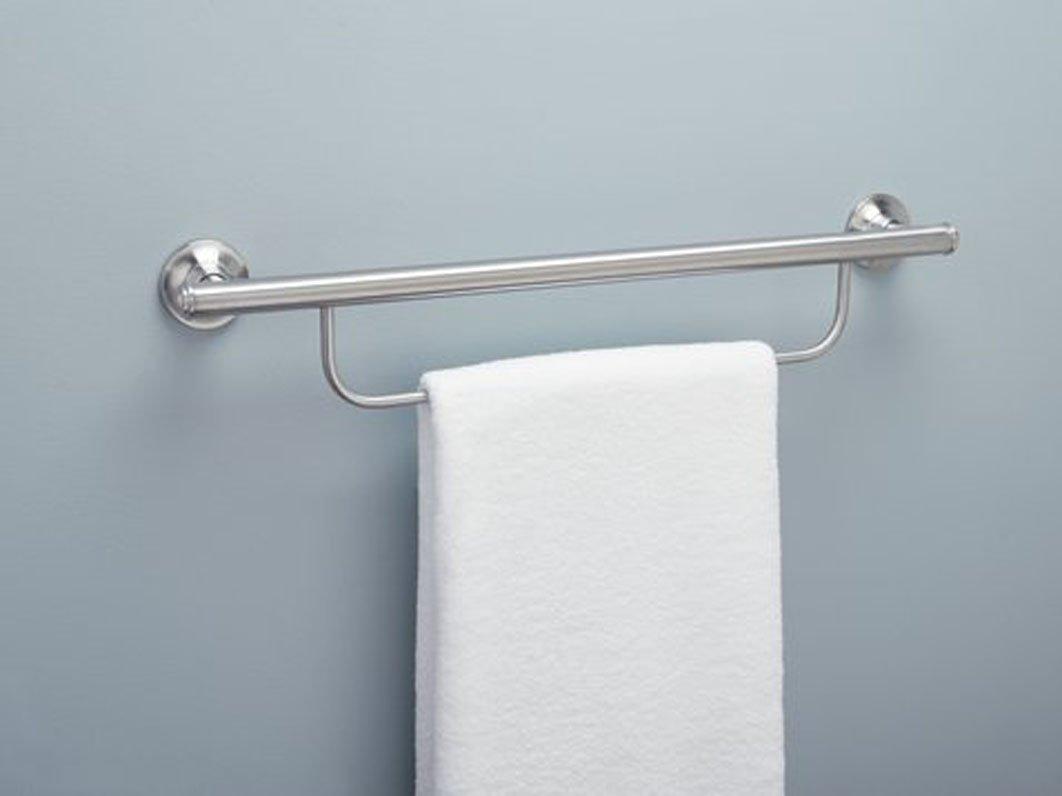 amazoncom moen lr2350dbn bathroom safety 24inch grab bar with towel bar brushed nickel home improvement