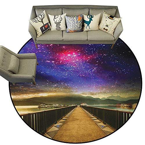 Universe,Indoor Outdoor Rugs Galaxy Cosmos Wooden Bridge Panoramic View Celestial Space Print D40 Super Soft Carpet Floor Mat Home ()