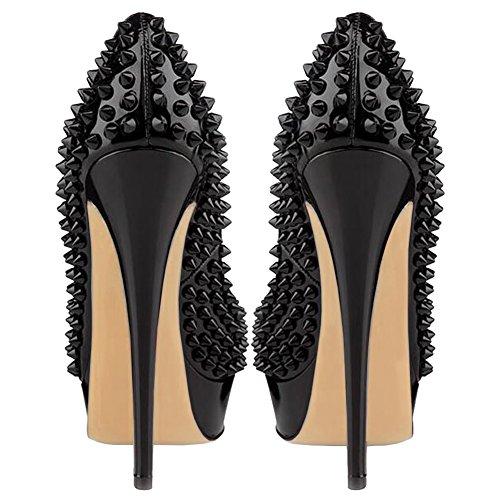 MERUMOTE - Zapatos de tacón de aguja mujer, color negro, talla 40 EU