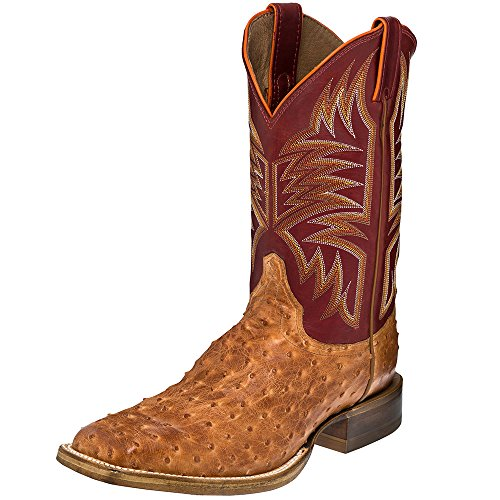 Justin Boot Company Mens Vintage Cognac FQ Ostrich 11in Cognac 10.5 D Brown (Fq Ostrich)