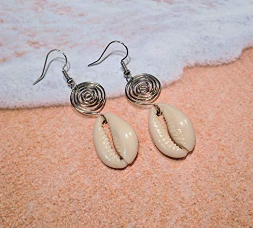 Cowrie Shell Earrings, Seashell Earrings, Cowry Earrings, Afrocentric Earrings (African Shell Ring)
