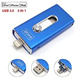 Tipmant Cell Phone USB Flash Drives for iPhone 6 6S 7 Plus, iPad USB 3.0 128 GB OTG iOS Lightning Apple Flash Memory Stick 3in1 - Blue 128GB