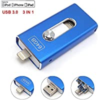 For iPhone USB 3.0 Flash Drives Memory Stick for iPhone 6 6S 7 Plus, iPad 64 GB OTG Lightning iOS Apple Cell Phone Pen Drive 3in1 Tipmant - Blue 64GB