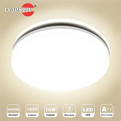 Deckenleuchte Bad LED, Deckenlampe Bad, Öuesen 18W Neutralweiss LED  Badezimmer Deckenlampe Bürodeckenleuchten Küchenlampe Badlampe Wohnzimmer  ...