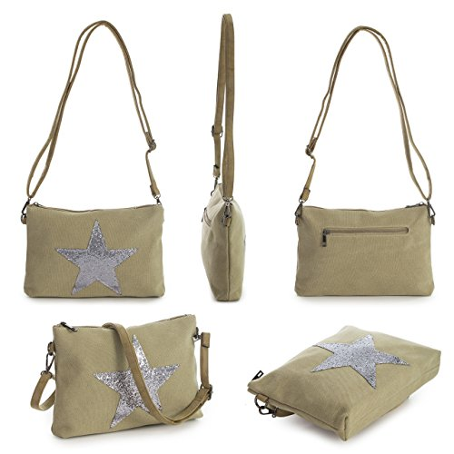 Fabric Trendy Messenger Size Green Star Cross Shoulder Small Designer Shop Rainproof Bag Handbag Glitter Big Body Canvas Inspired BXqHIRxw