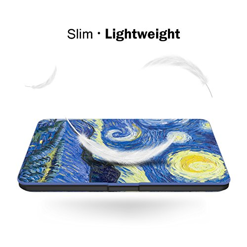 MoKo Case for Kindle Paperwhite, Premium Thinnest and Lightest PU Leather Cover with Auto Wake/Sleep for Amazon All-New Kindle Paperwhite (Fits 2012, 2013, 2015 and 2016 Versions), Starry Night by MoKo (Image #9)