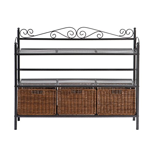 (Celtic 3 Drawer Storage Shelf - Rattan Baskets w/ Wrought Iron - Black Finish)