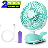 Clip Fan Battery Operated Portable Stroller Fans Cute Whale Design Rechargeable USB Personal Silent Desk Fans Adjustable Tilt Whisper Quiet Operation for Treadmill Dorm Bed Tent Camp Green