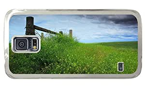 Hipster Samsung Galaxy S5 Case personalize cases nature meadow fence PC Transparent for Samsung S5