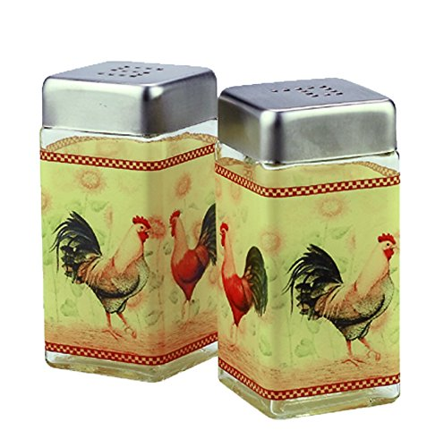 Grant Howard Rooster Square Glass Salt and Pepper Shaker Set, Multicolor