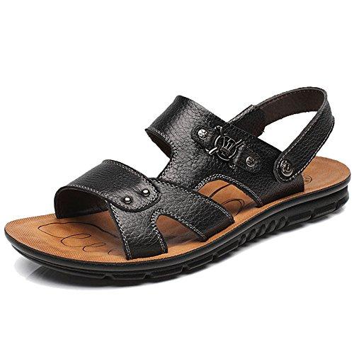 Spiaggia Scarpe Sandali Vera Open Pantofole Da Slip Pool Pelle Uomo Da Classico On Da Passeggio Escursionismo Toe Donna MERRYHE Black2 Da Sandalo In qECdwwH