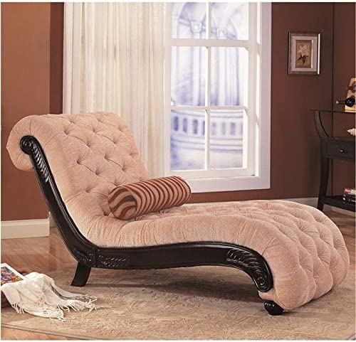 Coaster Chaise Lounge with Tufted Beige Fabric Black Wood Base  sc 1 st  Amazon.com : cream chaise lounge - Sectionals, Sofas & Couches
