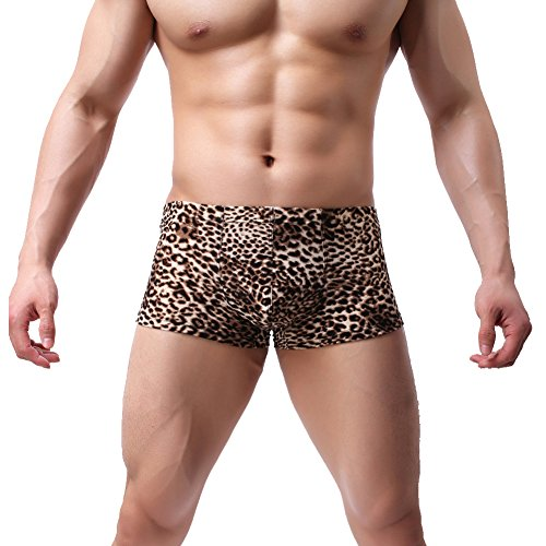 K-Men Men's Boxer Briefs Low Rise Sexy Leopard Print Underwear Man Shorts Underpants