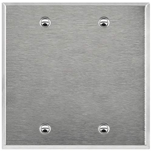 Enerlites 7702 2-Gang Blank Stainless Steel Wall Plate, Standard Size, 430 Grade Metal Plate Alloy Corrosive Resistant Cover for Unused Outlets Light Switches Holes