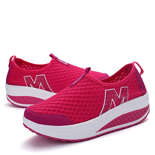 rose A Womens Walking SAGUARO Toning Platform On Ladies Wedges Shoes Rocker Red Slip Mesh BB7xPnqF4I