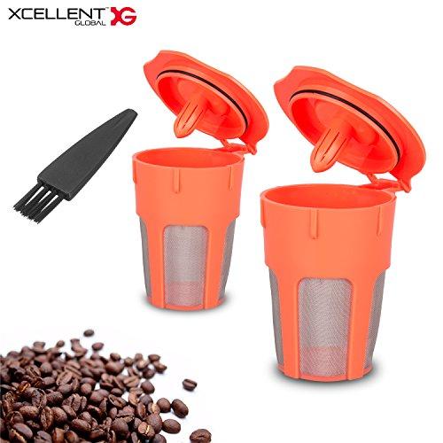 Xcellent Global 2 Pack Reusable Coffee Filter, Reusable K-Cups for Carafe, Keurig 2.0, K200, K300, K400, K500 Series (Carafe Filter Keurig)