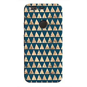 Cover It Up - Brown Navy Triangle Tile Pixel Hard Case