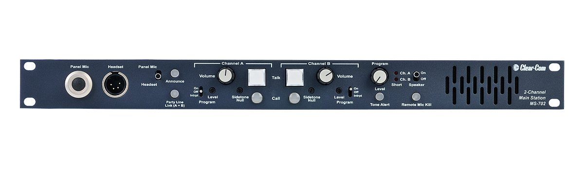Clear-Com MS-702 Intercom 2-Channel Rackmount Main Station by Clear-Com