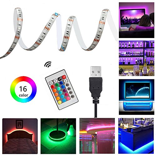 USB TV Backlight Bias Lighting with Remote Control, 1m Waterproof RGB LED Strip Lighting Kit for HDTV, Desktop PC etc