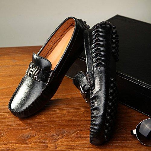 Casuale Nero Studio SK Loafers Nero Scarpe Piatte Guida Eleganti da di Scarpe Scarpe Mocassini Guida Uomo Slip Barca di Pelle On qnprw6Oq