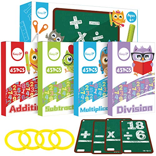 Koogel Math Flashcards, Kids Flash Cards Math Addition Subtraction Multiplication Division Punched Cards Number FlashCards for 1st 2nd 3rd 4th 5th 6th Grade