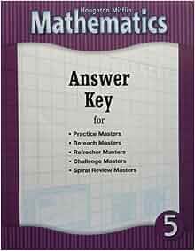 Amazon.com: Houghton Mifflin Mathematics: Answer Key for ...